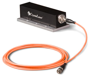 Compact orange laser with fiber coupled